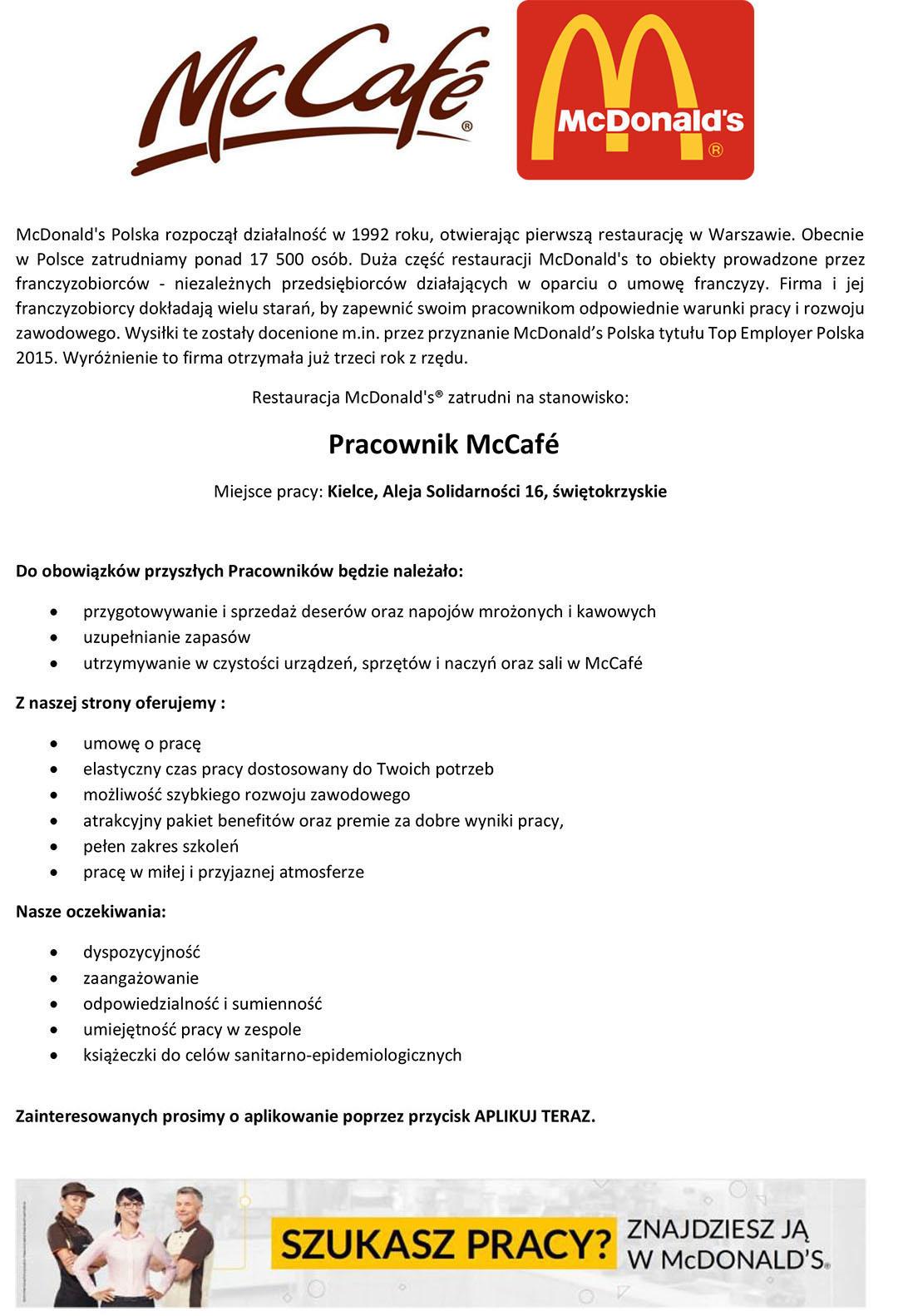 Praca Pracownik Mccaf Mcdonald 39 S Polska Sp Z O O Kielce